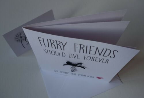 Sorry for your loss condolence Sympathy cat Furry Friend card with charm
