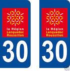 LOT 2 STICKERS AUTOCOLLANT PLAQUE D IMMATRICULATION DEPARTEMENT 30