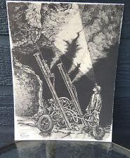 Vintage Pen and Ink Numbered Print Hard Rock Miner Robert Michelutti Sudbury