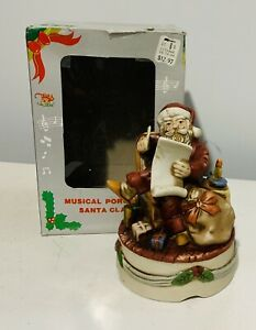 Vintage Santa Claus Musical Porcelain Hand Painted Plays Silent Night Christmas