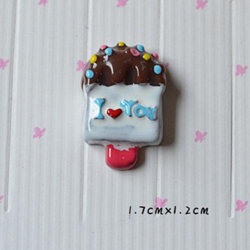10pcs Mixed Design Resin Cabochon Flatback Ice Cream DIY Craft Decoration