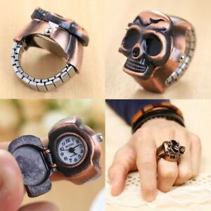 Fashion-Vintage-Style-Finger-Skull-Ring-Womens-Watch-Mens-Clamshell-Watch-Retro