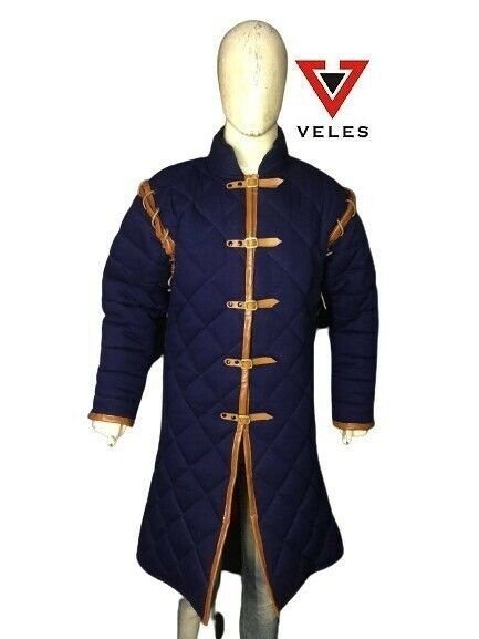 Medieval Navy Blue color Thick Padded Full Length Sleeves Jacket Gambeson Coat