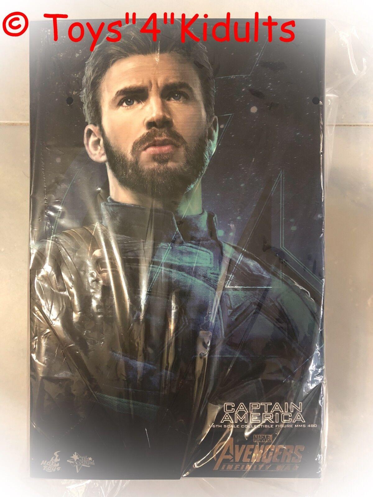 Hot Toys MMS 480 Vengadores 3 Infinity Guerra Capitán América Chris Evans Figura Nueva