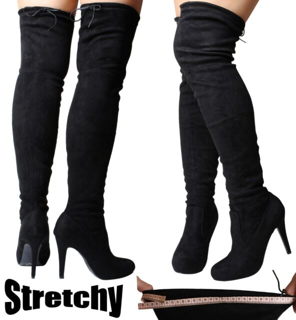 32bd08e2cf0 Sexy Black Over the Knee High Boots Stretch Thigh Wide Fit Calf Stiletto  Heel