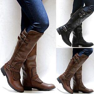 New Women FLiv Brown Black Quilted Riding Knee High Biker Boots ... : quilted biker boots - Adamdwight.com