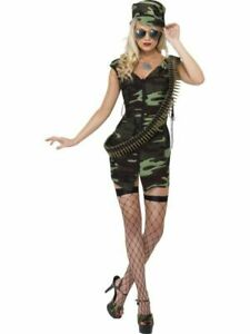 Adult-Sexy-Ladies-Army-Outfit-Set-Fancy-Dress-Soldier-Military-Uniform-Womens
