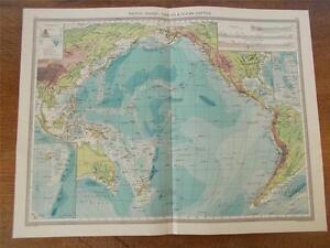 Antique C Colour Map PACIFIC OCEAN CABLES OCEAN DEPTHS - Pacific ocean depth map