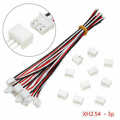 10set 3-Pin 150mm Mini Micro JST XH2.54mm Socket Connector Plug With Wire Cable