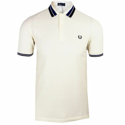Mens Fred Perry Polo Shirt | M2574 | Bold Tipped Pique | Ecru | 560 S