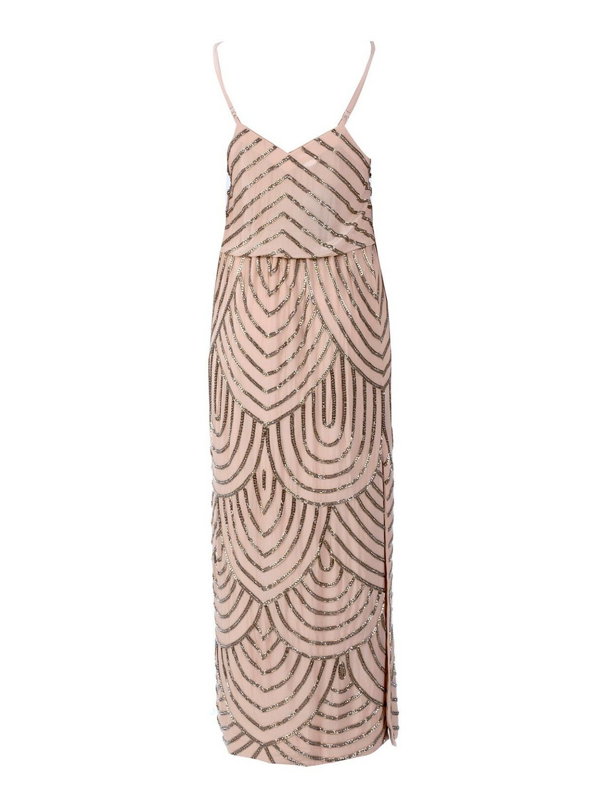Karina Grimaldi Deco Beaded Maxi Dress in Nude Nude Nude Size M 6ad50f