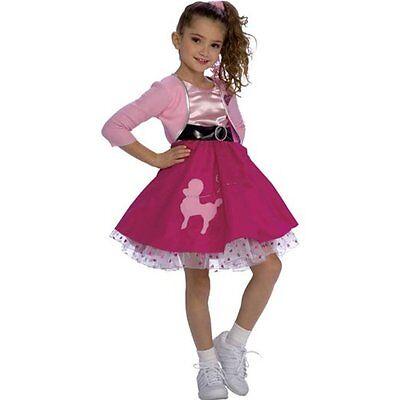 Girls Poodle Skirt Costume 50s Fancy Dress Pink Red Halloween Toddler Child Kids