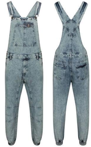 Uomo Jeans Lavaggio Acido lungo Salopette Medio Bavaglino Tuta da Lavoro Taglia