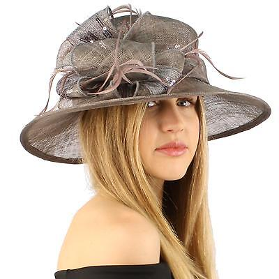 Fancy Sequins Kentucky Derby Floppy Bucket Floral Bow  Feathers Church Hat Gray