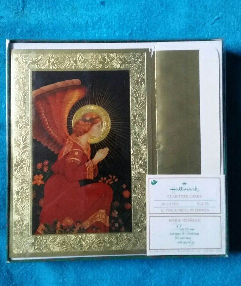 20 vintage hallmark christmas cards angel mint box foil lined peace - Mint Christmas Cards