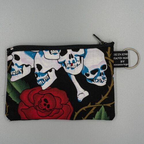 Crânes roses squelettes Day of the Dead USA Porte-monnaie Cash Argent porte coton