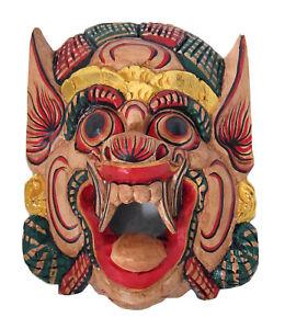 Handgeschnitzte In Bali Methodisch Holz Affe Maske Barong Wand Maske Neu Beige/gold