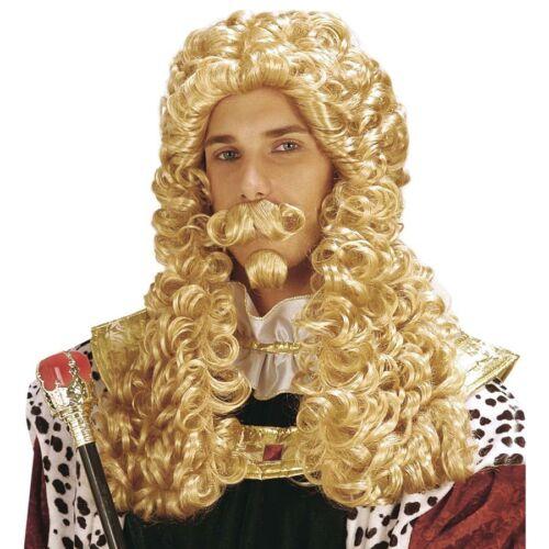 KÖNIG PERÜCKE /& BART Karneval Mittelalter Rokoko Barock Herren Kostüm Larp 6201