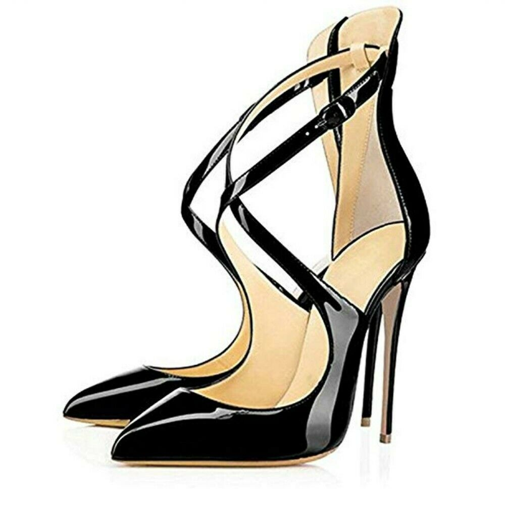 Cuir verni bout pointu et bracelet croix Talons Hauts Party chaussures Femme Bal Pompes