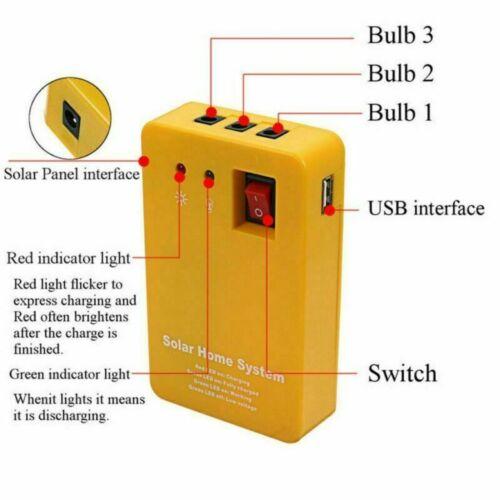 Solar Panel Generator System Portable Home Kit LED Light 12V USB Charger Camping