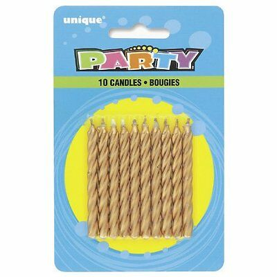Pack Of 10 Gold Spiral Birthday Candles Unique Party Cake Candle