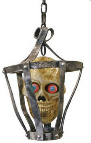 Halloween Skull in Cage Singing Head LED Eyes Sound Activated Dungeon Prop