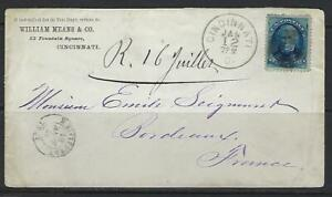 Ee. Uu. 1881 Sc 147 Cincinnati Ohio Cubierta A Burdeos Francia