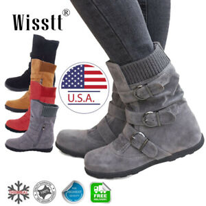 Women-039-s-Winter-Warm-Ankle-Boots-Fur-Snow-Short-Mid-Calf-Slouch-Buckle-Flat-Shoes