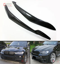REAL CARBON FIBER HEADLIGHT EYE LID COVER PAIR EYEBROWS FOR 07-2013 BMW E70 X5