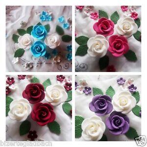 Zuckerblumen zucker blumen fondant rosen tortendeko hochzeit tortenaufleger ebay - Tortendeko hochzeit ...
