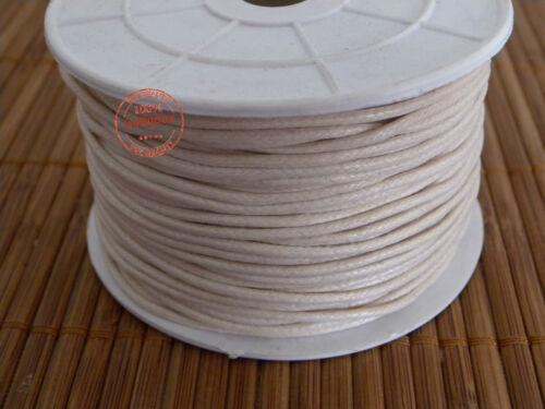 10mt Filo Cordino Cotone Cerato Bianco Avorio di 1,5mm Filo Nastro Bigiotteria