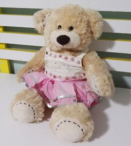 BUILD-A-BEAR-GIRL-TEDDY-BEAR-WHITE-SEQUIN-SHIRT-AND-MATCHING-PINK-SKIRT-VANILLA