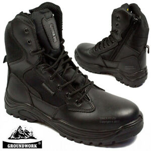 MENS-GROUNDWORK-LEATHER-NON-SAFETY-BOOTS-ARMY-MILITARY-POLICE-COMBAT-WORK-SHOES