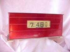 OLD RED METAL ARTS MOON CREST MANTEL CLOCK ROTATING NUMBERS VINTAGE NR