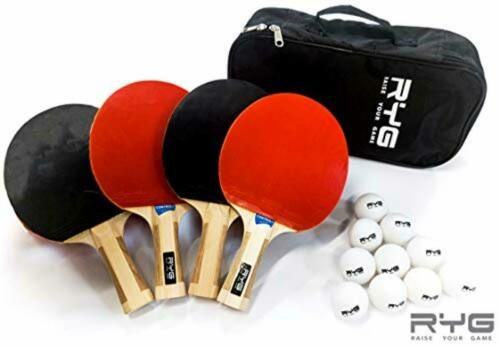 B RYG Ping Pong Paddle Set 10 professionnel jeu de boules 4 raquettes de tennis de table