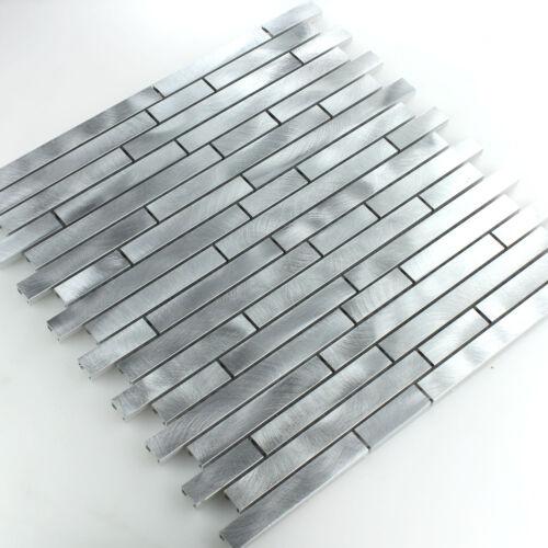 MUSTER von Aluminium Alu Metallmosaik Fliesen Silber Mix Wandverkleidung Küche