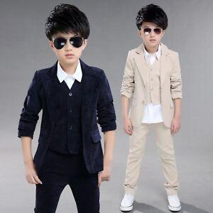 14aaad0428 Details about 3PCS Kid Boy Blazer Suit Set Coat Jacket Vest Pant Formal  Wedding Tuxedo Outfits