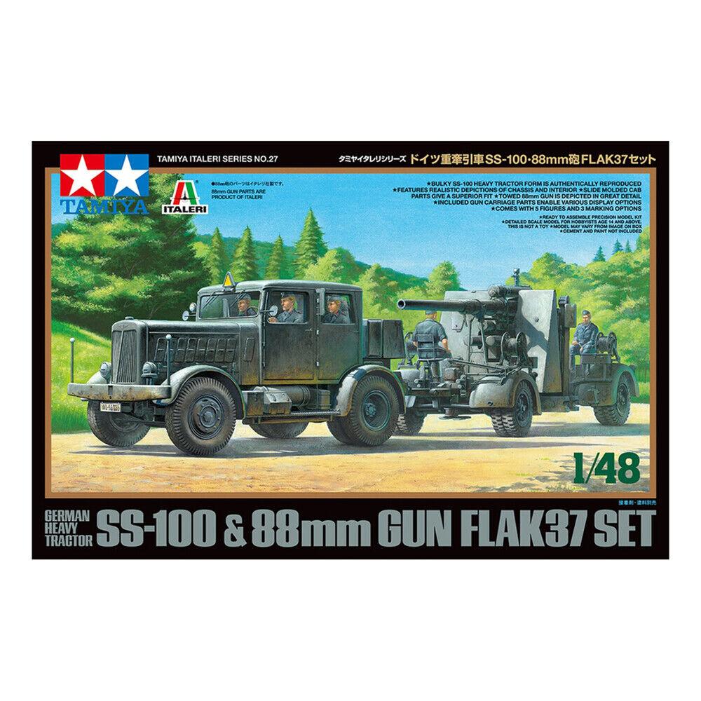 Tamiya Italeri SS-100 Heavy Tractor & Flak 37 88mm Gun Model Kit 1 48 37027