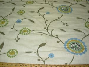 Details About Bty Fabricut Agron Fl Crewel Embroidered Drapery Upholstery Fabric For Less