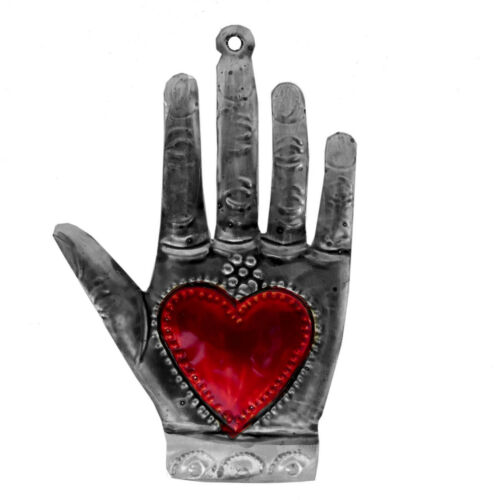 """Punched Tin Sacred Milagro Heart in Hand Hamsa Ornament 5.5""""  Mexican Folk Art"""