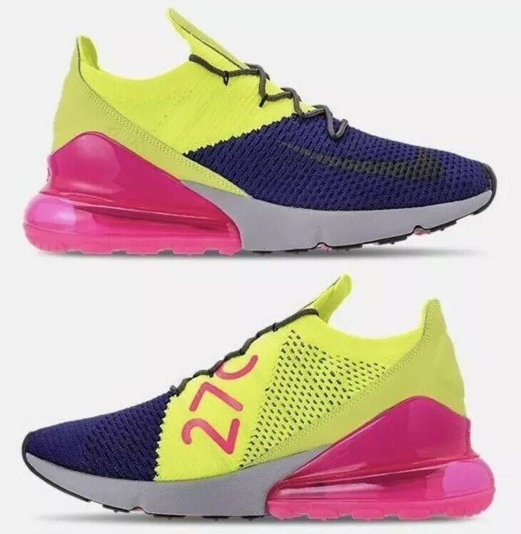 Nike Air Max 270 Flyknit Multi-color Purple Running shoes AO1023-501 Mens 8
