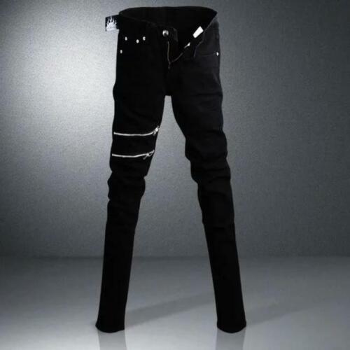 Punk Rock Mens Zip Decor Hip Hop Skinny Slim Fit Pants Leisure Pencil Trousers