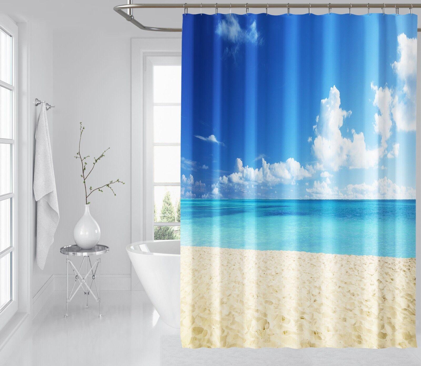 3D bella spiaggia 245 Tenda da doccia IMPERMEABILE Fibra Bagno WC Windows