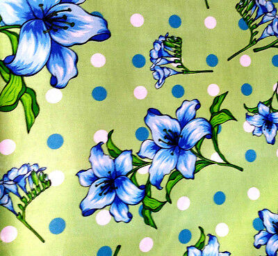 "BLUE STARGAZER LILYS FLORAL WHITE POLKA DOT GREEN POLY COTTON FABRIC 60/"" BT YARD"