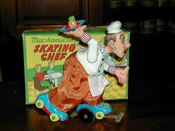 Tin Toy Friction TPS 50's LITHO ROLLER SKATING CHEF CHEF CHEF Vintage Very rare Collector 0ab37f
