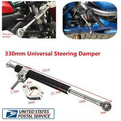330mm Universal Aluminum Motorcycle Bike Steering Damper 6-Way Adjust Stabilizer