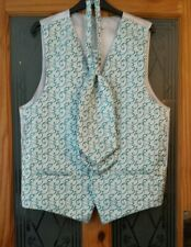 WEDDING COLLECTION .  Waistcoat & cravat . Silver grey with teal . Chest 40ins .