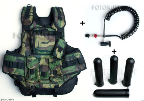 Complete WOODSBALL CAMO TACTICAL PAINTBALL VEST Package with 4 PODS /& REMOTE