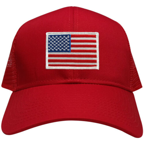 RED USA American Flag Embroidered Patch Snapback Mesh Trucker Cap