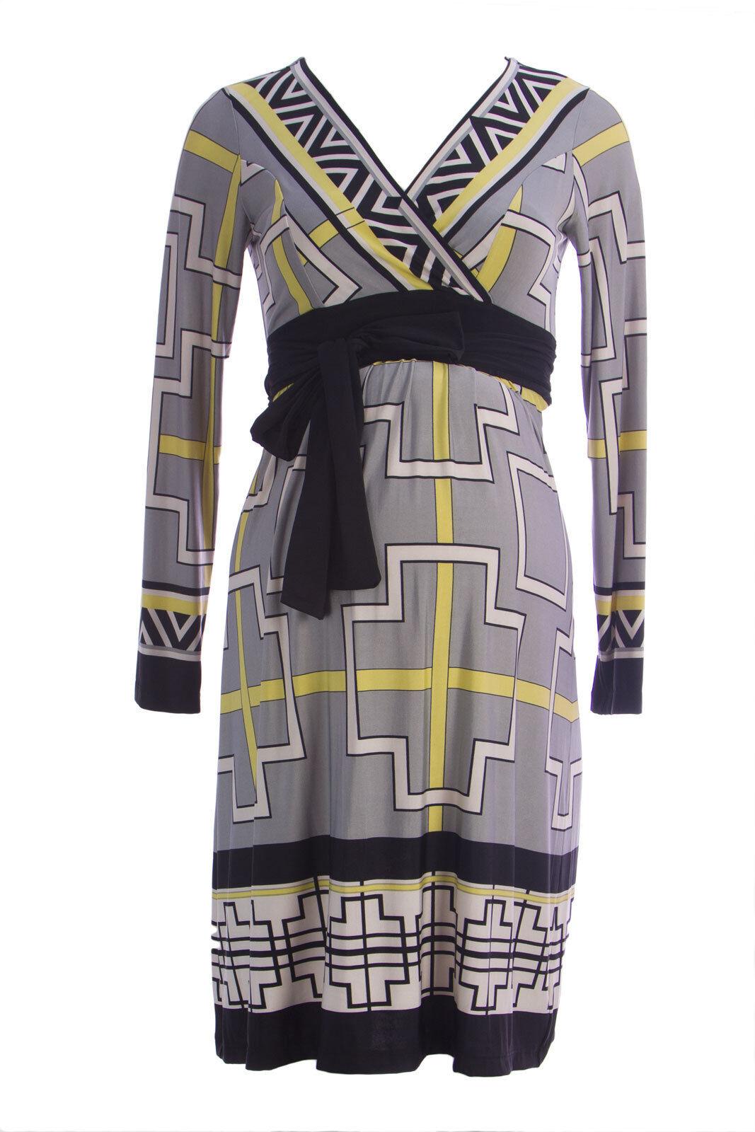 OLIAN Maternity Women's Grey Yellow Geometric Print Sandra Dress  143 NWT